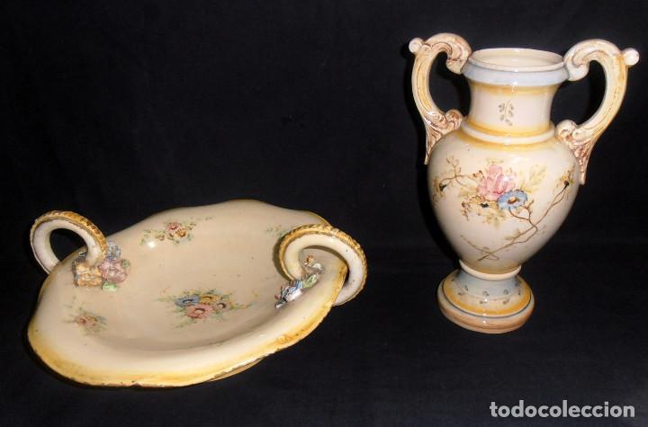 JARRON Y FRUTERO, OCTOGENARIOS, DE CERAMICA VALENCIANA (Antigüedades - Porcelanas y Cerámicas - Otras)