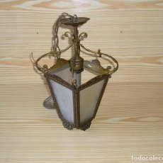 Antigüedades: FAROL DE BRONCE CON VIDRIOS TALLADOS - LAMPARA DE TECHO.VER DESCRIPCION.. Lote 126596503