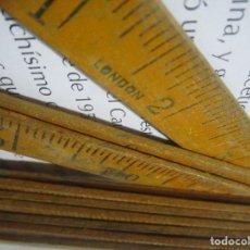 Antigüedades: ANTIGUO REGLA METRO COLECCION LONDON MADERA LONGITUD UN METRO MEDIDAS METROS / PULGADAS. Lote 126599103
