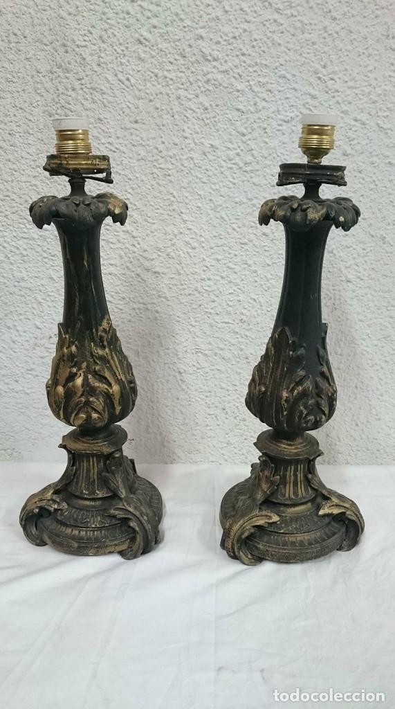 Antiques: Antiguos candelabros de bronce estilo imperio, electrificados para lámpara. Siglo XIX. 55 cm alto. - Foto 4 - 121345183