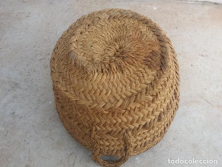 Antigüedades: Cesta espuerta o capazo antiguo de esparto utilizado para fruta verdura pescado - Foto 2 - 126662763