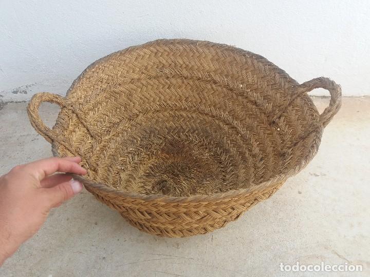 Antigüedades: Cesta espuerta o capazo antiguo de esparto utilizado para fruta verdura pescado - Foto 3 - 126662763