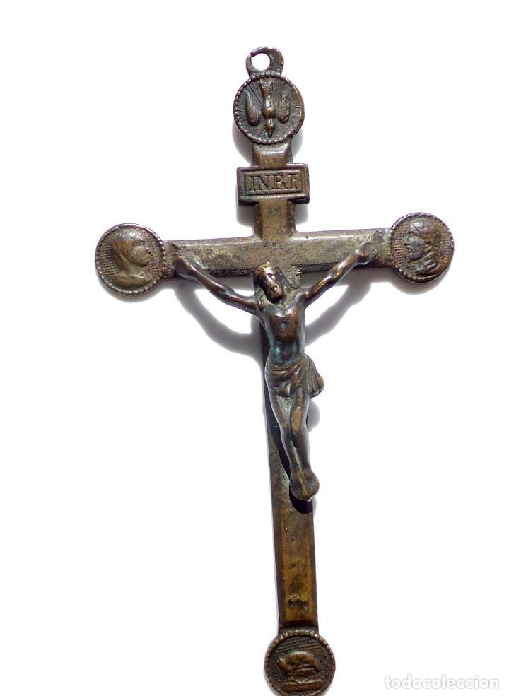 Antigüedades: CRUCIFIJO DE MISIONERO.- SOUVENIR DE MISSION SIGLO XIX. 11 CM DE ALTO - Foto 2 - 126676451