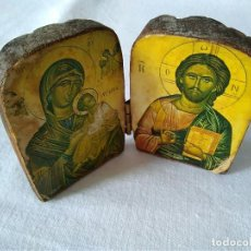 Antigüedades: 116- ANTIGUO DIPTICO ICONO BIZANTINO EN MADERA . Lote 126689167