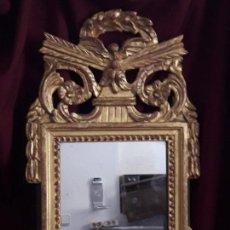 Antigüedades: ESPEJO DE MADERA POLICROMADO DEL SG, XIX. Lote 126702759