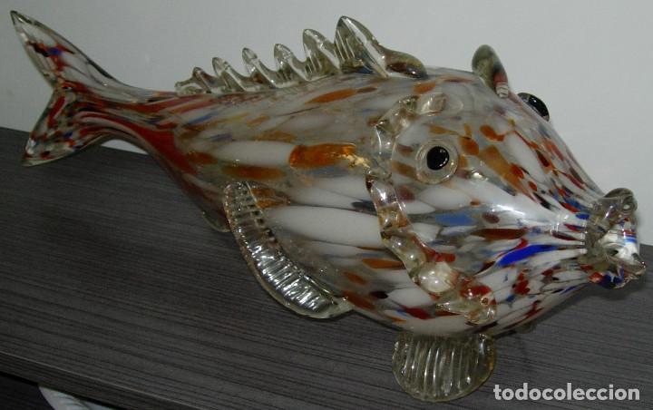 Antigüedades: Antiguo pez de cristal de Murano 49 cmts. largo - Foto 2 - 126706395