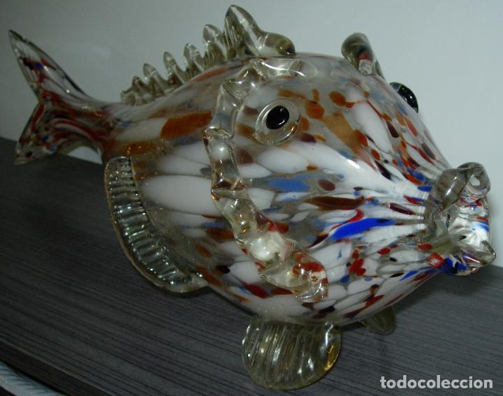 Antigüedades: Antiguo pez de cristal de Murano 49 cmts. largo - Foto 3 - 126706395