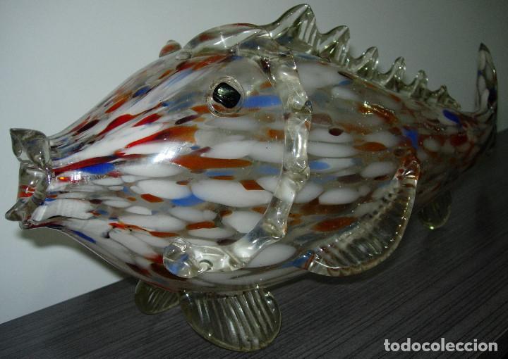 Antigüedades: Antiguo pez de cristal de Murano 49 cmts. largo - Foto 5 - 126706395