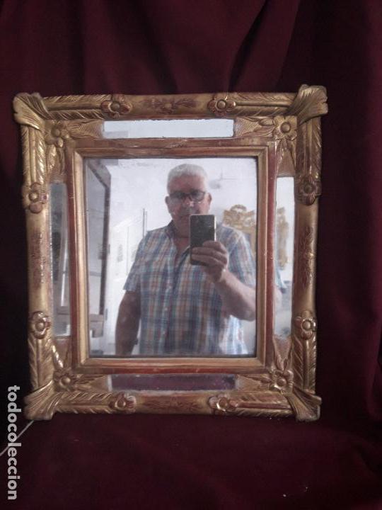 Antigüedades: ESPEJO ISABELINO POLICROMADO EN PAN DE ORO FINO - Foto 2 - 126708631