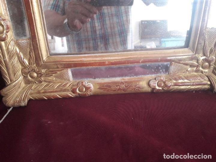 Antigüedades: ESPEJO ISABELINO POLICROMADO EN PAN DE ORO FINO - Foto 5 - 126708631