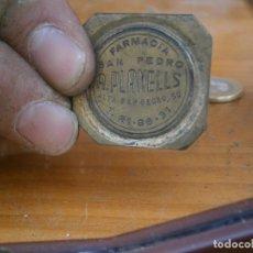 Antigüedades: ¡¡PRECIOSO MOLDE DE IMPRENTA AÑOS 40 50 ¡¡FARMACIA SAN PEDRO,A,PLANELLS. Lote 126712599