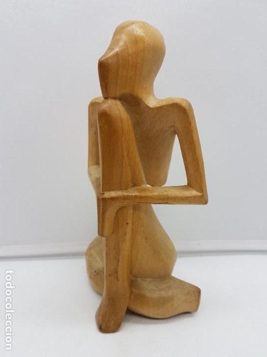 Antigüedades: Hermosa antigua escultura india abstracta, meditación, tallada en madera. - Foto 2 - 126757739