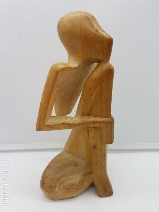 Antigüedades: Hermosa antigua escultura india abstracta, meditación, tallada en madera. - Foto 5 - 126757739