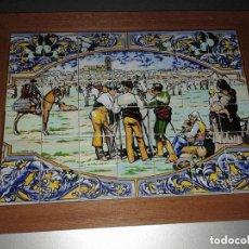 Antigüedades: BANDEJA DE MADERA CON PUZZLE DE BALDOSAS DE CERAMICA. Lote 126779099