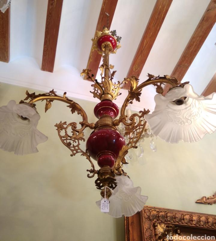 LÁMPARA BRONCE, PORCELANA Y CRISTAL SIGLO XIX (Antigüedades - Iluminación - Lámparas Antiguas)