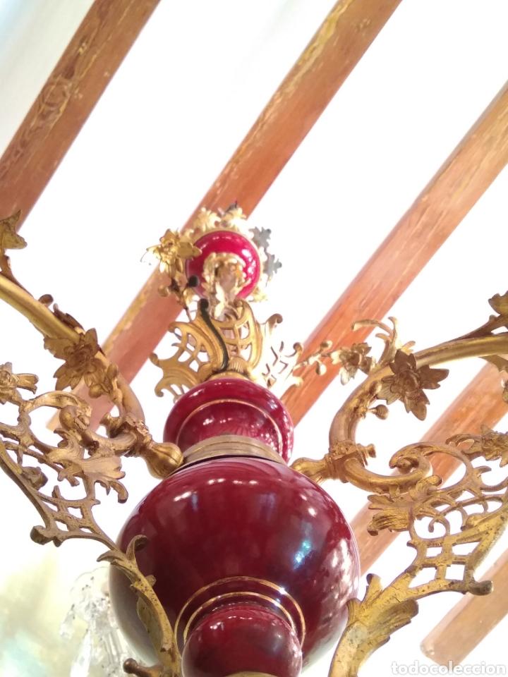 Antigüedades: Lámpara bronce, porcelana y cristal siglo XIX - Foto 4 - 126858112