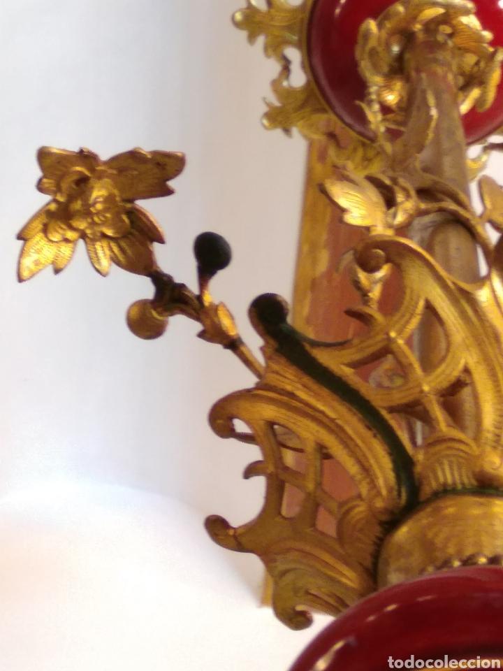Antigüedades: Lámpara bronce, porcelana y cristal siglo XIX - Foto 6 - 126858112