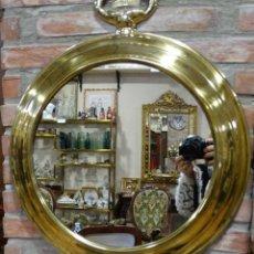 Antigüedades: ESPEJO BRONCEADO, ESTILO RELOJ DE BOLSILLO.. Lote 126860987