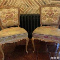 Antigüedades: PAREJA ANTIGUAS SILLAS ISABELINAS. Lote 126861448