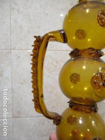 Antigüedades: Precioso jarron o botijo de vidrio soplado, color marrón, principios S XX, altura 33 x 19 cm ancho - Foto 17 - 126899475