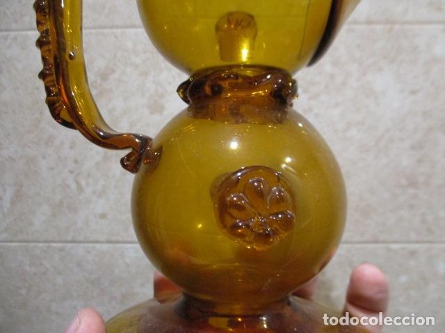 Antigüedades: Precioso jarron o botijo de vidrio soplado, color marrón, principios S XX, altura 33 x 19 cm ancho - Foto 20 - 126899475