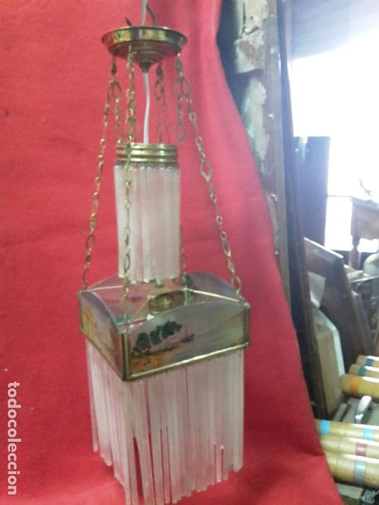 LÁMPARA MODERNISTA DE CHORRILLOS 1900 (Antigüedades - Iluminación - Lámparas Antiguas)