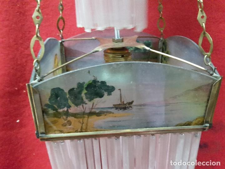 Antigüedades: Lámpara Modernista de chorrillos 1900 - Foto 2 - 126909579