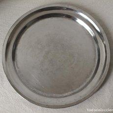 Antigüedades: BANDEJA REDONDA ACERO INOX MONIX. 35 CM DIAMETRO. VER FOTOS Y DESCRIPCION. Lote 126914503
