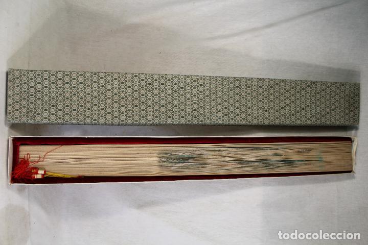 Antigüedades: Abanico Oriental grande- China - Varillaje de Madera - Calada - Pintado a Mano- Firmado - Foto 4 - 126924491