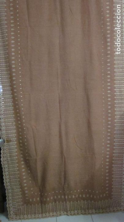 Antigüedades: Antigua cortina de hilo color teja bordada - Foto 6 - 95192143