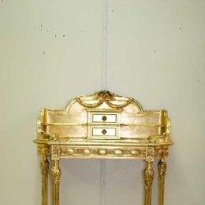 Antigüedades: ANTIGUO ESCRITORIO MADERA Y PAN DE ORO - ESTILO LUIS XVI. Lote 127110739