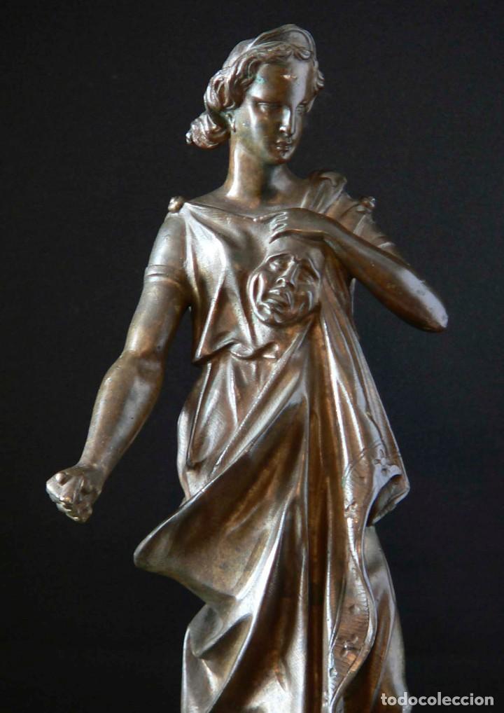 Antigüedades: ESCULTURA DE LA DIOSA GRIEGA THALÍA EN BRONCE - Foto 3 - 127132663