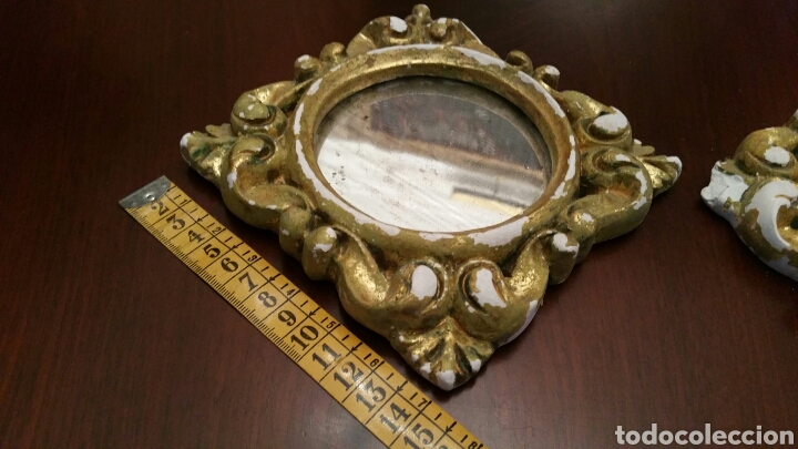 Antigüedades: Muy antigua pareja de pequeñas Cornucopias. Escayola y Oro fino. S XIX. Miden 14 X 14 cm. cada una. - Foto 8 - 127199284