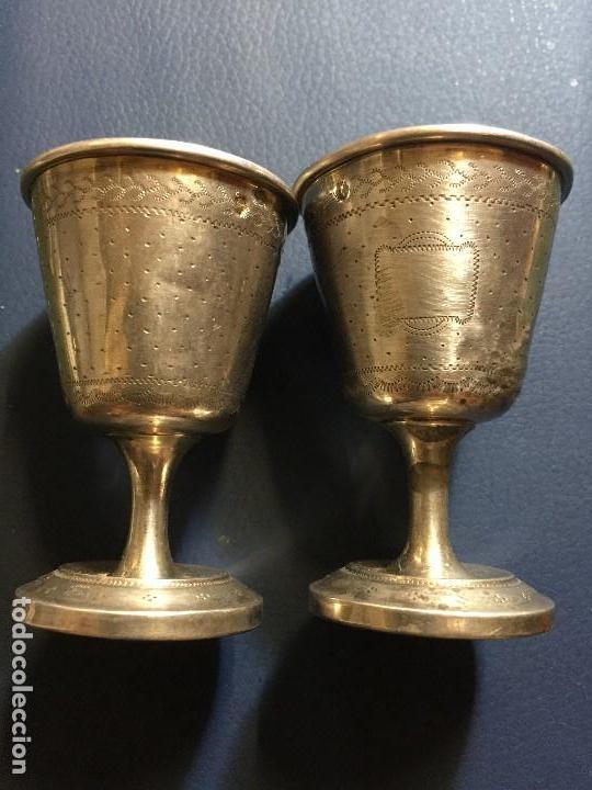 PAREJA COPAS PLATA SIGLO XVIII , XIX (Antigüedades - Platería - Plata de Ley Antigua)