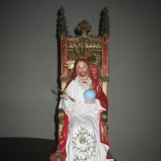 Antigüedades: FIGURA RELIGIOSA DE CORAZÓN DE JESUS. ESCAYOLA DE 62 CM DE ALTO. Lote 127255427