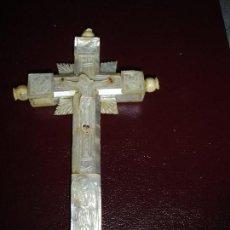 Antigüedades: PRECIOSA CRUZ DE JERUSALEN EN NACAR SIGLO XIX PRINCIPIOS VER FOTOS. Lote 127274831