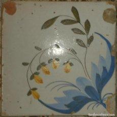 Antigüedades: AZULEJO DEL SIGLO XIX CON FLORES. Lote 127277739