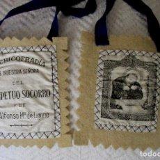 Antigüedades: ANTIGUO ESCAPULARIO NTRA. SRA. DEL PERPETUO SOCORRO Y S. ALFONSO M. DE LIGORIO, SIN USO. Lote 127460203