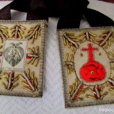 Antigüedades: ANTIGUO ESCAPULARIO NTRA. SRA. DEL CARMEN, ELABORADO TRABAJO CONVENTUAL. 9 X 7 CM SIN USO . Lote 127460519