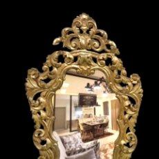 Antigüedades: ESPECTACULAR ESPEJO DORADO AL ORO FINO. SIGLO XVIII. MOTIVOS VEGETALES. VER FOTOS.140X86 CM. Lote 121229371