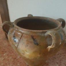 Antigüedades: ANTIGUA ORZA OLLA DE BARRO ARAGONESA 4 ASAS. Lote 127478767