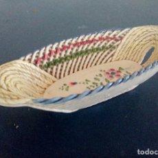 Antigüedades: MANISES - CESTA DE PORCELANA TRENZADA Y CALADA 20 CM.. Lote 127480859