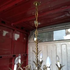 Antigüedades: APLIQUE LAMPARA TECHO CON TERMINACION HOJAS COMBINAR ESPEJO SOL. Lote 127490907