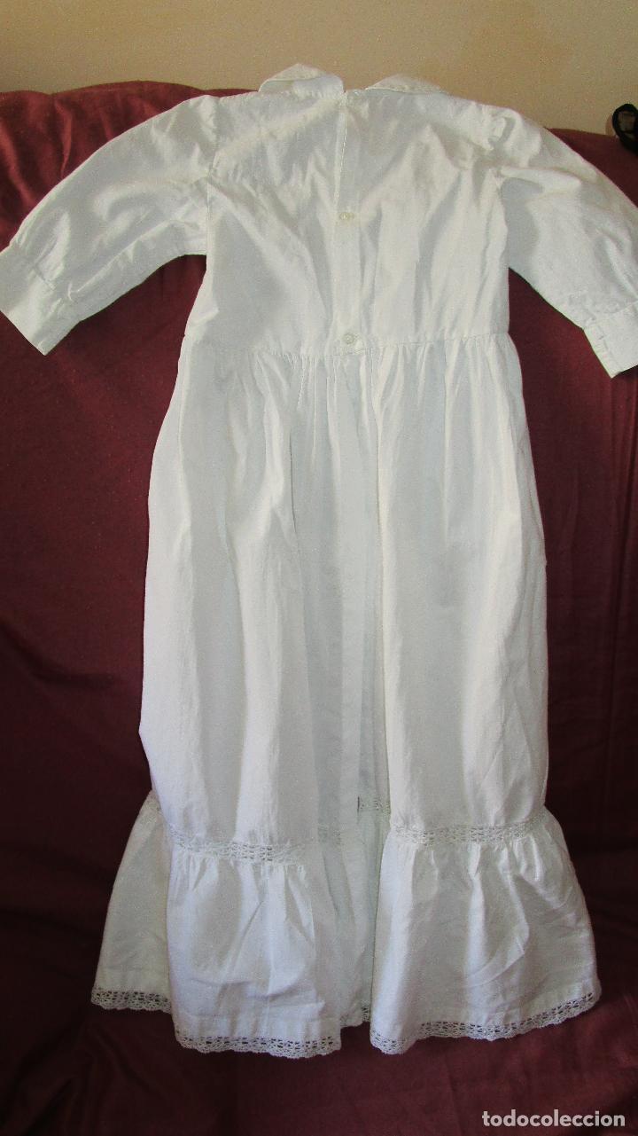 Antigüedades: Faldón para bebé, algodón y puntillas, sencillo, hechura casera. poco usado. Mediados S:XX - Foto 4 - 127505027