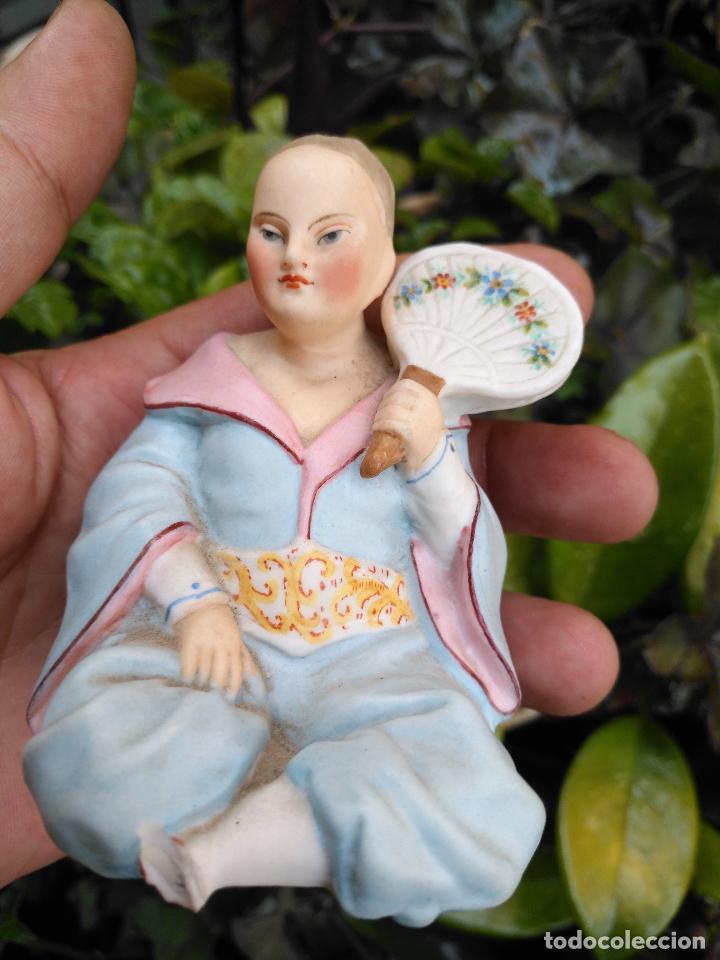 Antigüedades: ANTIGUA FIGURA ART NOUVEAU MODERNISTA EN PORCELANA BISCUIT china japonesa oriental S.XIX sello n 273 - Foto 2 - 127515567