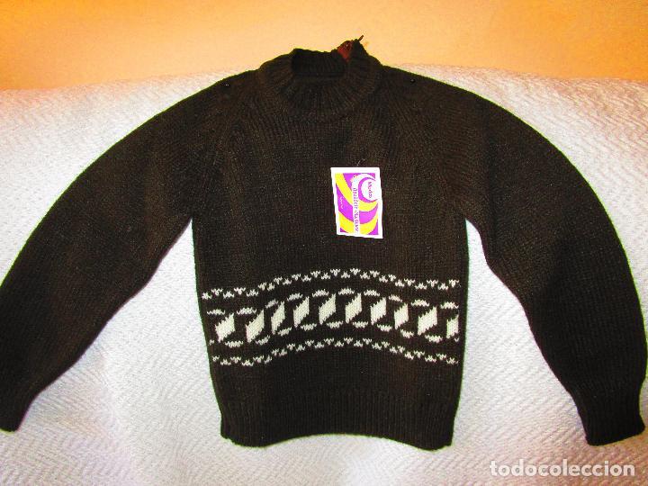 Antigüedades: Pantalón y jersey, lana marrón y grecas blancas.Modas Apellaniz Mtz. Logroño. Talla 4. Años 1970-80 - Foto 2 - 127527335