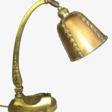 Antiguidades: VIP! LAMPARA ANTIGUA CIRCA 1900 ESCRITORIO TIPO BANQUERO BRONCE MACIZO. Lote 127549287