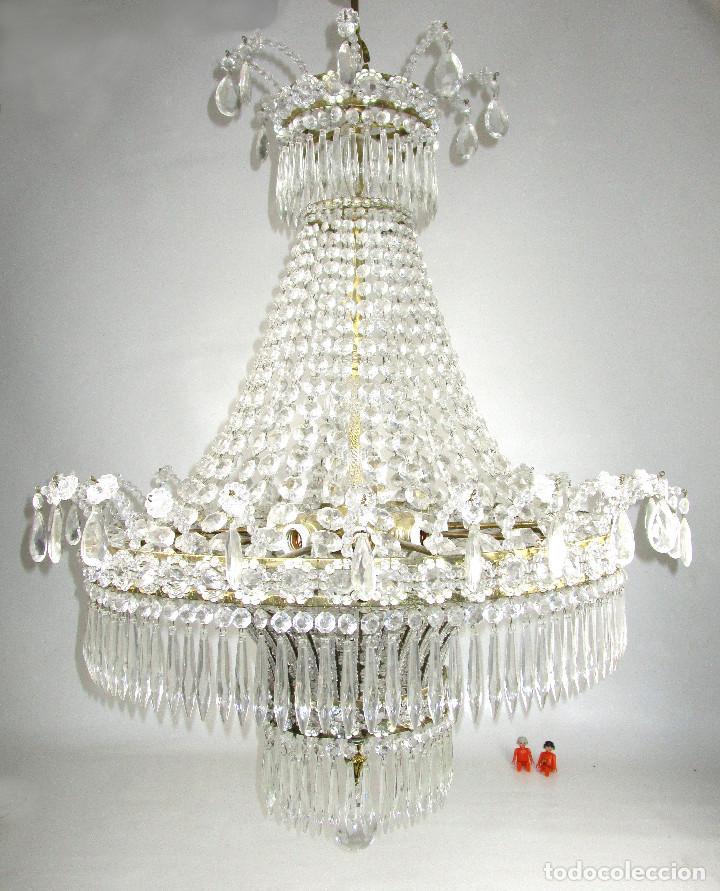 LAMPARA XXXL ANTIGUA XXXL CRISTAL DE BOHEMIA DE PALACIO HOTEL TIENDA HALL (Antigüedades - Iluminación - Lámparas Antiguas)
