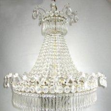 Antigüedades: ESPECTACULAR LAMPARA XXXL ANTIGUA XXXL CRISTAL DE BOHEMIA DE PALACIO HOTEL TIENDA HALL. Lote 127578315