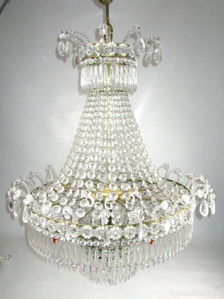 Antigüedades: LAMPARA XXXL ANTIGUA XXXL CRISTAL DE BOHEMIA DE PALACIO HOTEL TIENDA HALL - Foto 2 - 127578315